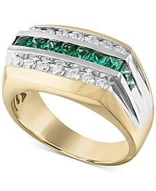 Men's Lab-Created Emerald (3/4 ct. t.w.) & White Sapphire (5/8 ct. t.w.) Ring in 10k Gold