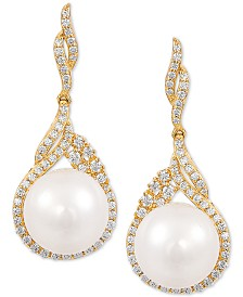 Arabella Cultured White Ming Pearl (12mm) & Swarovski Zirconia Drop Earrings in 14k Gold Over Sterling Silver, Created for Macy's
