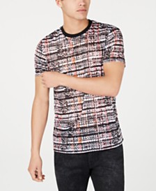 GUESS Men's Shot Mesh Tribal T-Shirt