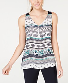 BCX Juniors' Quarter-Zip Printed-Front Tank Top
