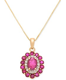 "Ruby (2-1/8 ct. t.w.) & Diamond (1/6 ct. t.w.) Oval 18"" Pendant Necklace in 14k Gold"