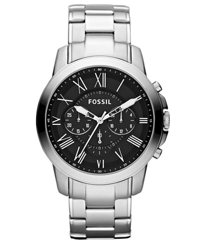 fossil men 39 s chronograph grant stainless steel bracelet. Black Bedroom Furniture Sets. Home Design Ideas