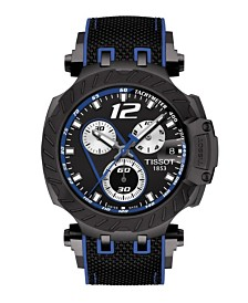 Tissot Men's T-Race Jorge Lorenzo 2019 Swiss Automatic Limited Edition Black And Blue Rubber Strap Watch 47.6mm