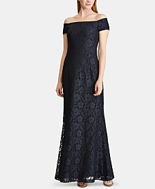 Lauren Ralph Lauren Lace Off-The-Shoulder Gown