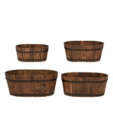 Oval Cedar Barrel, Set Of 4