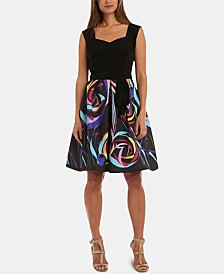 R & M Richards Petite Printed-Skirt Fit & Flare Dress