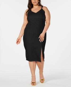 Almost Famous Trendy Plus Size Slit-Front Sheath Dress In Black