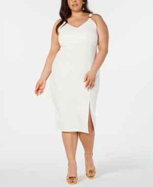 Juniors\' Plus Size Slit-Front Sheath Dress in White