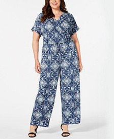 Plus Size Printed Wide-Leg Jumpsuit, Created for Macy's