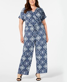 Style & Co Plus Size Printed Wide-Leg Jumpsuit, Created for Macy's