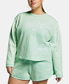 Plus Size Sportswear Cotton Cropped Sweatshirt