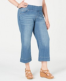 Plus Size Pull-On Cropped Flare Jeans, Created for Macy's