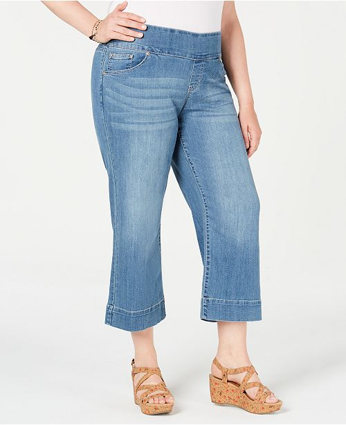 Style & Co Plus Size Pull-On Cropped Flare Jeans, Created for Macy's