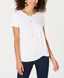 Style & Co Knot-Hem T-Shirt, Created for Macy's
