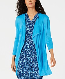 Kasper 3/4-Sleeve Draped Open-Front Cardigan