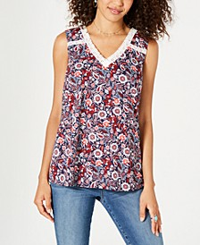 Floral-Print Lace-Trim Top, Created for Macy's
