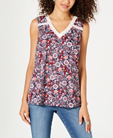 Style & Co Floral-Print Lace-Trim Top, Created for Macy's
