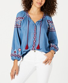 Style & Co Embroidered Tassel-Tie Shirt, Created for Macy's