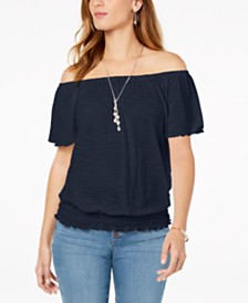 Style & Co Convertible Off-The-Shoulder Top, Created for Macy's