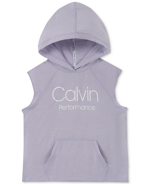 Calvin Klein Big Girls Slim-Fit Sleeveless Logo Hoodie