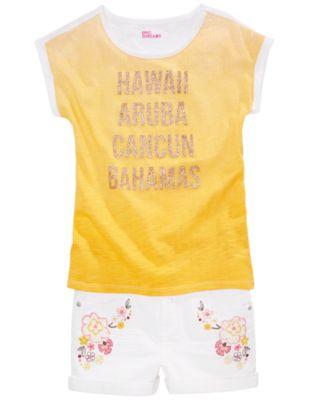 Big Girls Floral-Embellished Denim Shorts, Created for Macy's