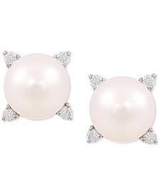 Cultured Freshwater Pearl (8mm) & Diamond (1/8 ct. t.w.) Stud Earrings in 14k Gold