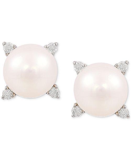 Honora Cultured Freshwater Pearl (8mm) & Diamond (1/8 ct. t.w.) Stud Earrings in 14k Gold