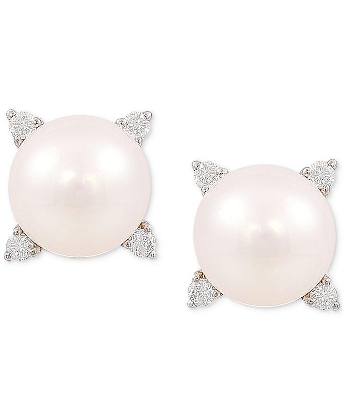 Honora - Cultured Freshwater Pearl (8mm) & Diamond (1/8 ct. t.w.) Stud Earrings in 14k Gold