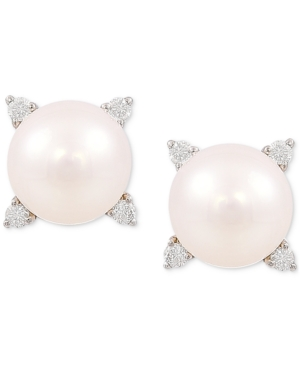 Cultured Freshwater Pearl (8mm) & Diamond (1/8 ct. t.w.) Stud Earrings in 14k Gold