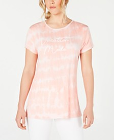 Ideology Tie Dyed Vacation Mode Split-Back T-Shirt, Created for Macy's