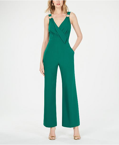 Vince Camuto Sleeveless Hardware-Detail Crepe Jumpsuit