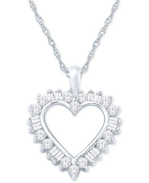 "Macy's Diamond Heart Pendant Necklace (1/2 ct. t.w.) in 14k White Gold, 16"" + 2"" Extender"