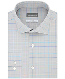 Michael Kors Men's Slim-Fit Airsoft Stretch Moisture-Wicking Non-Iron Check Dress Shirt