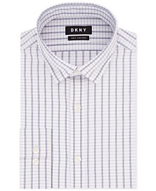 DKNY Men's Slim-Fit Active Stretch Moisture-Wicking Non-Iron Check Dress Shirt