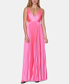 V-Neck Pleated Gown