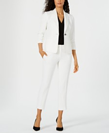 Kasper One-Button Blazer, V-Neck Top & Textured Pants