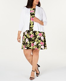 Kasper Plus Size 3/4-Sleeve Shrug & Printed Dress