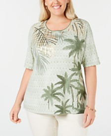 Karen Scott Plus Size Printed Sequin-Embellished Top, Created for Macy's