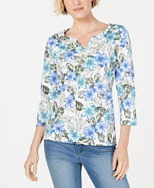 Karen Scott Petite Maui Maze Henley Top, Created for Macy's