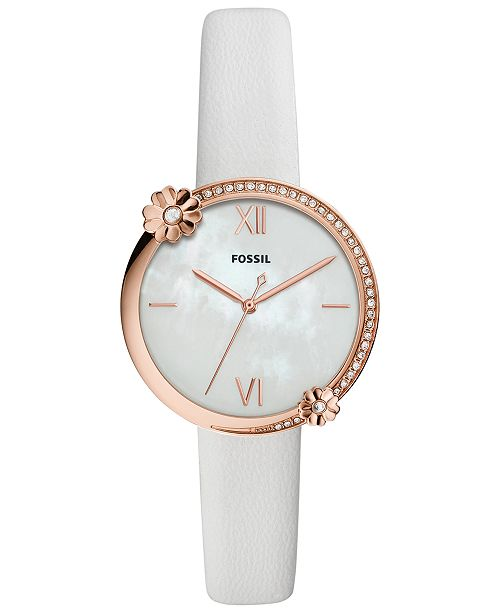 Fossil Women's Presley White Leather Strap Watch 34mm