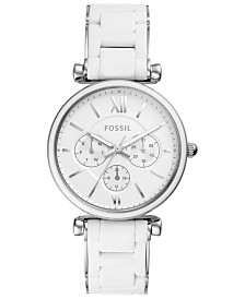 Fossil Women's Carlie White Silicone & Stainless Steel Bracelet Watch 38mm