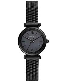 Fossil Women's Carlie Mini Black Stainless Steel Bracelet Watch 28mm