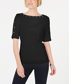 Karen Scott Stud Embellished Boat-Neck Top, Created for Macy's