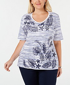 Plus Size Embellished Printed Cotton T-Shirt, Created for Macy's