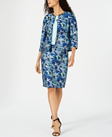 Kasper Jacquard Jacket, Crisscross Top & Jacquard Skirt
