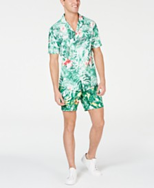 Michael Kors Men's Slim-Fit Jungle-Print Camp Shirt & Shorts, Created for Macy's