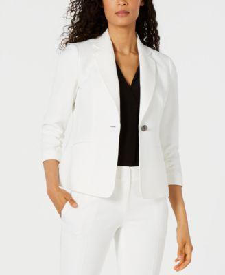 Ruched-Sleeve One-Button Blazer