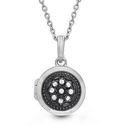 With You Lockets Roxette White Topaz Accent Photo Locket Necklace in Sterling Silver