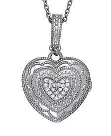 Rose Diamond Accent Photo Locket Necklace in Sterling Silver
