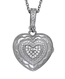 With You Lockets Rose Diamond Accent Photo Locket Necklace in Sterling Silver